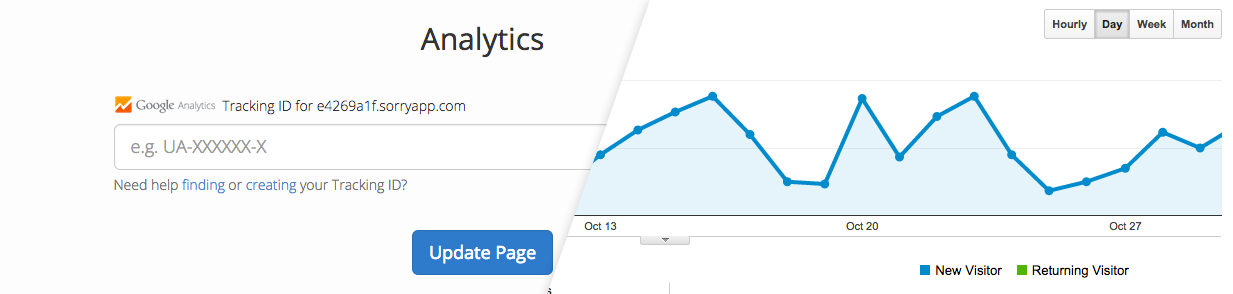 Screenshot showing the new Analytics setting and a preview of the Google Analytics.